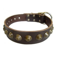 Dog Collar Leather with Spikes 30 mm