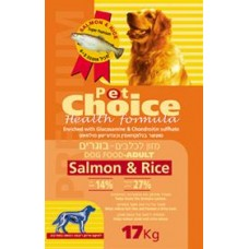 PET CHOICE All Breeds Adult Sensitive Salmon&Rice 17 kg